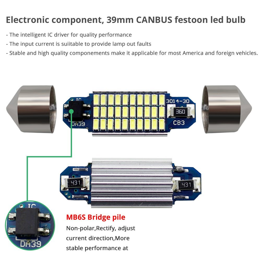 ,Xenon White. No Polarity Boodled 4X Extremely Bright 6418 LED Bulb 27 SMD 3014 Chipsets 6411 6413 DE3174 DE3423 36mm Festoon LED Bulbs for Car Interior Dome Map Door Courtesy License Lights