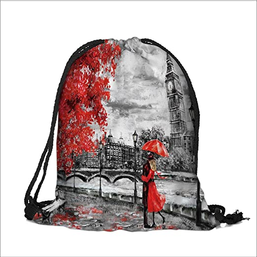 d860001191 Print Drawstring Backpack oil painting on canvas street of london artwork  big ben man and woman