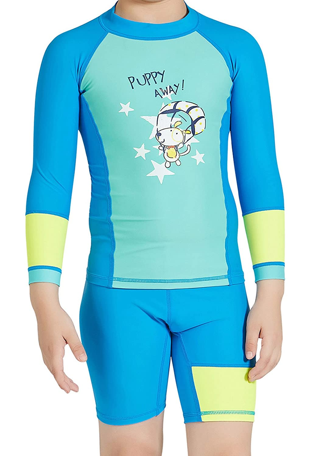 DIVE&SAIL Boys Two-Piece Rashguard Swimsuit Long Sleeve Swimwear with Shorts Set DIVE & SAIL