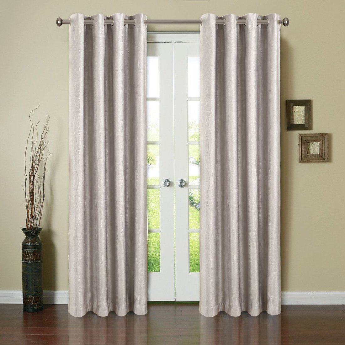 BLC 2 Panels Thermal Insulated Solid Grommet 52-Inch-by-63-Inch Blackout Curtains, z-Grey - Embossing pattern