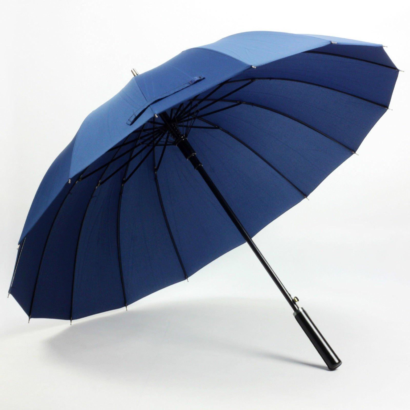 Dark Blue Women'S Mens Windproof Retro Business Sun Rain Long Umbrella