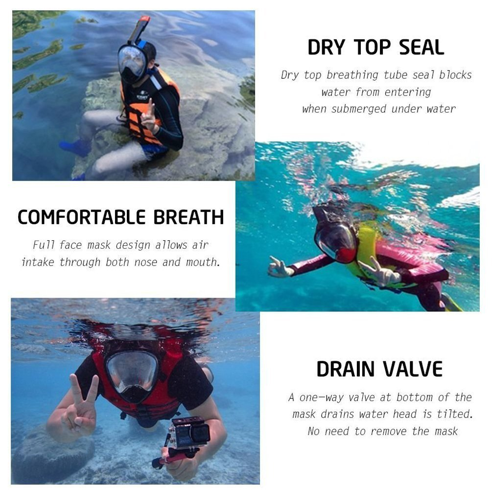 Amazon.com : Gintenco 180° Full Face Snorkel Mask. Anti-Fog and Anti-Leak Free Breathing Scuba Diving Equipment with Adjustable Head Straps - Swimming Gear ...