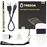 Trezor (White) Bitcoin Hardware Wallet with VUVIV Micro-USB Adapter, VUVIV USB-C Adapter for MacBook and Sakura Pigma Archival Ink Pen (4 items)