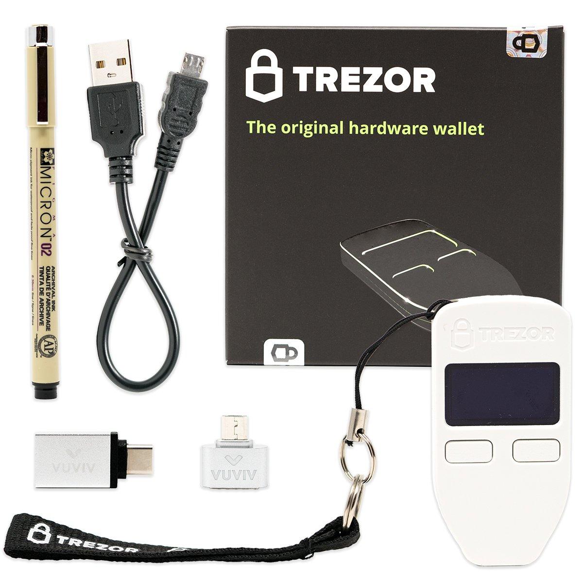 Trezor (White) Bitcoin Hardware Wallet with VUVIV Micro-USB Adapter, VUVIV USB-C Adapter for MacBook and Sakura Pigma Archival Ink Pen (4 items)