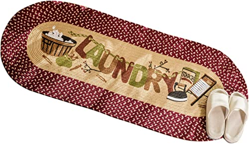 USTIDE Laundry Floor Runner Braid Handmade Jute Rug Burgundy Vintage Rug Washable Cabinet Washhouse Floor Mats Oval