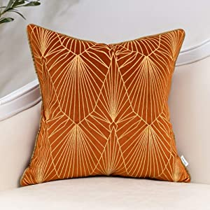 Burnt Orange and Gold Gradient Velvet Throw Pillow Cover Geometric Lines Cushion Case Modern Luxury Embroidery Pillowcase for Sofa Couch Bedroom Living Room Home Decor,18x18 Inch