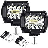 """Haofy 2pcs Focos LED Tractor, 4"""" 70W 72000LM Faros Trabajo LED, Focos de Coche Potente 6000K IP68 Impermeable Luz de Niebla para Coche, SUV, UTV, ATV, Off-Road, Camión, Moto, Barco"""