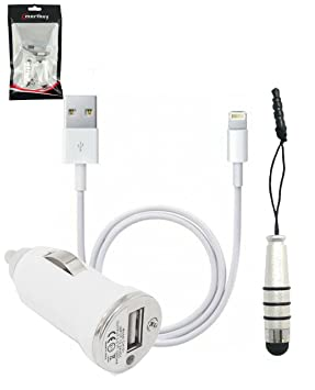 Emartbuy En Cargador de Coche Paquete para Apple Iphone 5, Iphone 6 & Iphone 6 Plus -Blanco Conector 1 Amp Cargador de Coche + Plata Mini Metallic ...