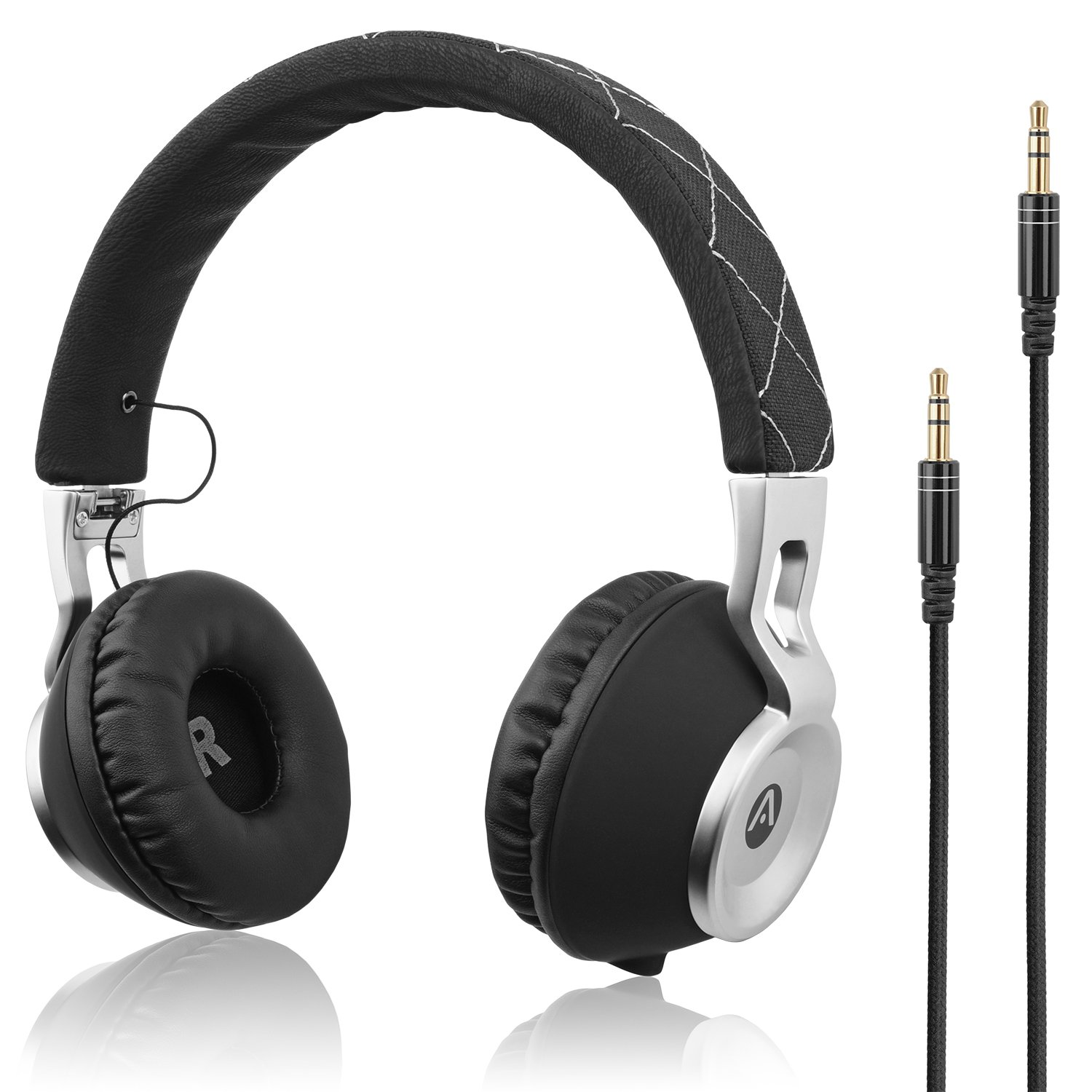 Audiomate High Bass Wired Over-Ear Headphones | Stylish Foldable and Portable Headset with Drawstring Bag | Noise-Isolating Earphones for Smartphone, PC, Tablet, TV, Gaming & More (Black/Silver)