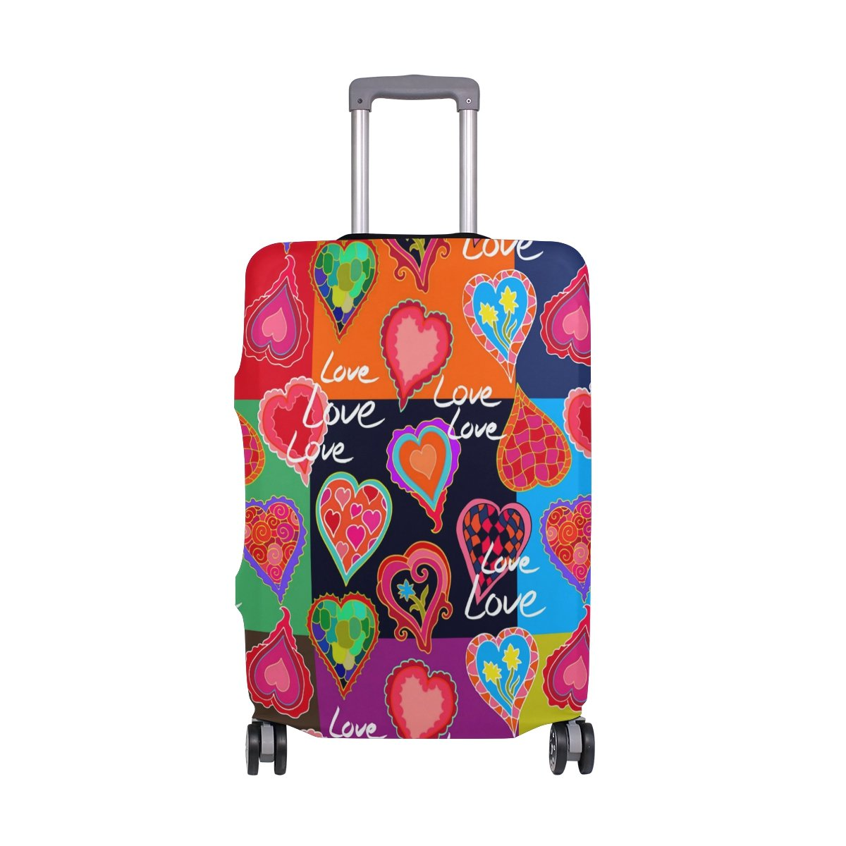 Hippie Love Birthday Valentines Heart Suitcase Luggage Cover Protector for Travel Kids Men Women