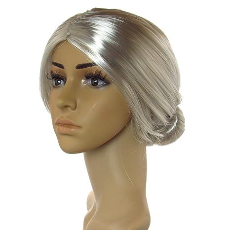 Sexy Old Lady peluca gris con Bun disfraz infantil de Cosplay cabeza ...