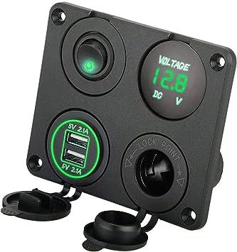 Waterproof Blue LED Voltage Vlot Gauge Meter with Terminal for Motorcycle Car Boat Marine Sunjoyco DC 12V-24V Car Voltmeter with Digital Display
