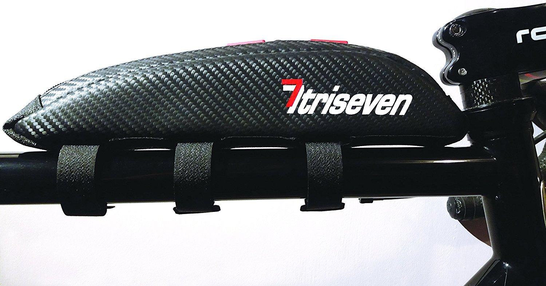 TRISEVEN Carbon Aero Bag 10 * Bolsa de ciclismo * Bolsa de triatlón de larga distancia * Bolsa de MTB * Capacidad 0, 4L * Bolsa de tubo superior * Accesorios de bicicleta * Monedero de 6 geles * 4 correas o 2 pernos * 100% de garantía de devolución de dine