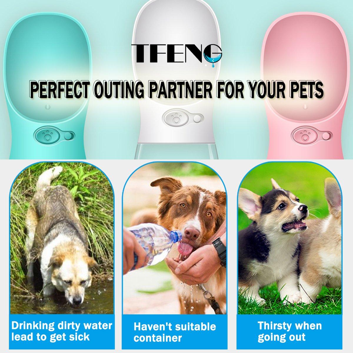 TFENG Hunde Wasserflasche, Tragbare Travel Hund Katze Haustier Trinkflasche für Reise Camping, Wandern, Training, Unterwegs Unterwegs (Size L Pink) TFENG Inc.