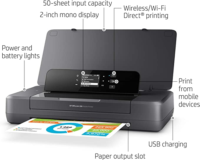HP OfficeJet 200 Portable Printer with Wireless & Mobile Printing (CZ993A), Grey, 2.7