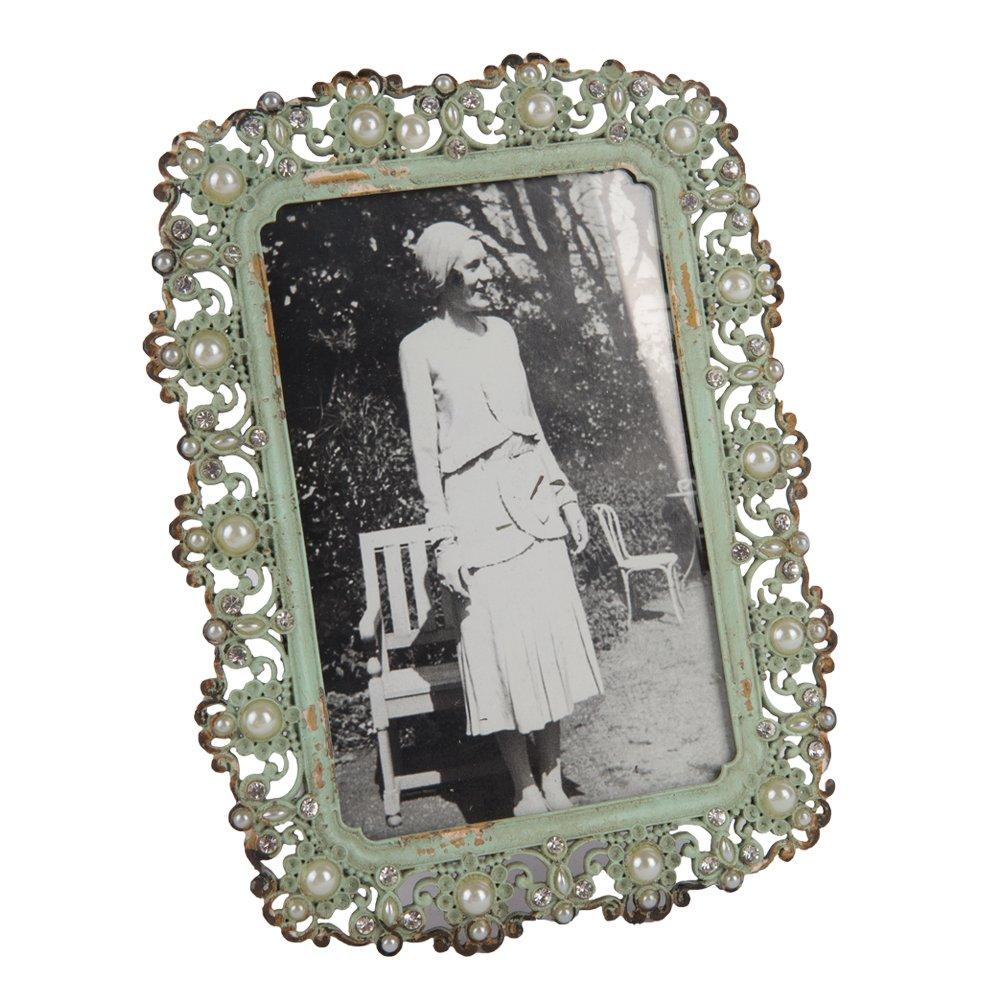 NIKKY HOME Cadre Photo Vintage en Métal avec Perles + Strass 10 x 15 cm / 4 x 6 Pouces