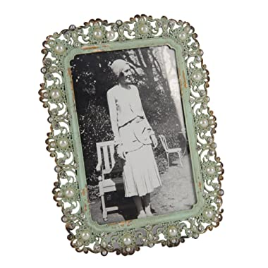 NIKKY HOME Decorative Vintage Metal Pearl 4 by 6 Inch Photo Frame Antique Green