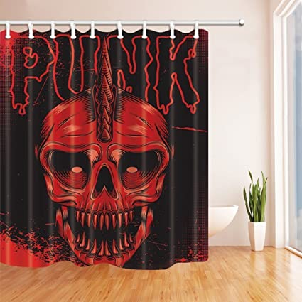 Rrfwq Halloween Decor Red Skull Horrible In Black Shower Curtains Mildew Resistant Polyester Fabric Bathroom Decorations