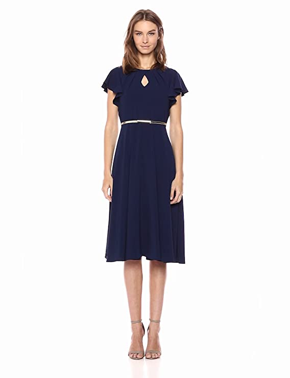 500 Vintage Style Dresses for Sale | Vintage Inspired Dresses Gabby Skye Womens Short Flutter Sleeve Key Hole Belted Navy Dress $60.00 AT vintagedancer.com