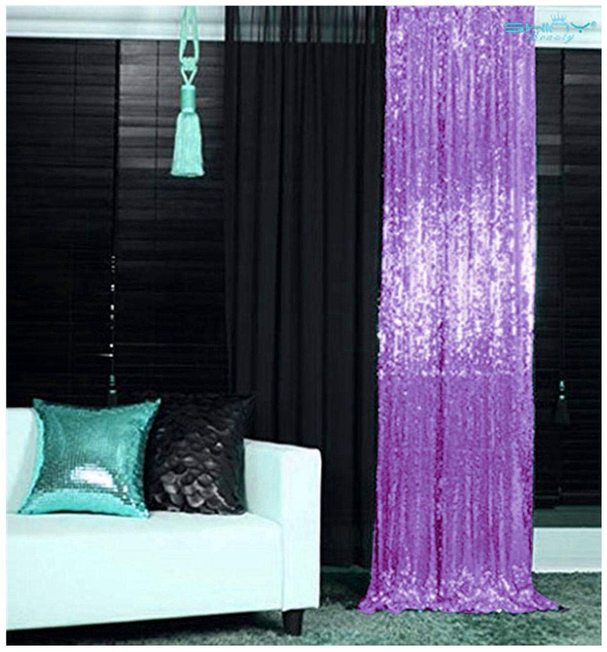 ShinyBeauty Lavender Sequin Backdrop 2 Panels 3 FT x 11 FT Glitter Backdrop for Girls Sequin Curtains Party Baby Shower Backdrop~N0329 by ShinyBeauty