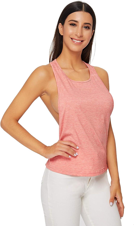 SweatyRocks Womens Sleeveless Flowy Loose Fit Racerback Yoga Workout Tank Top