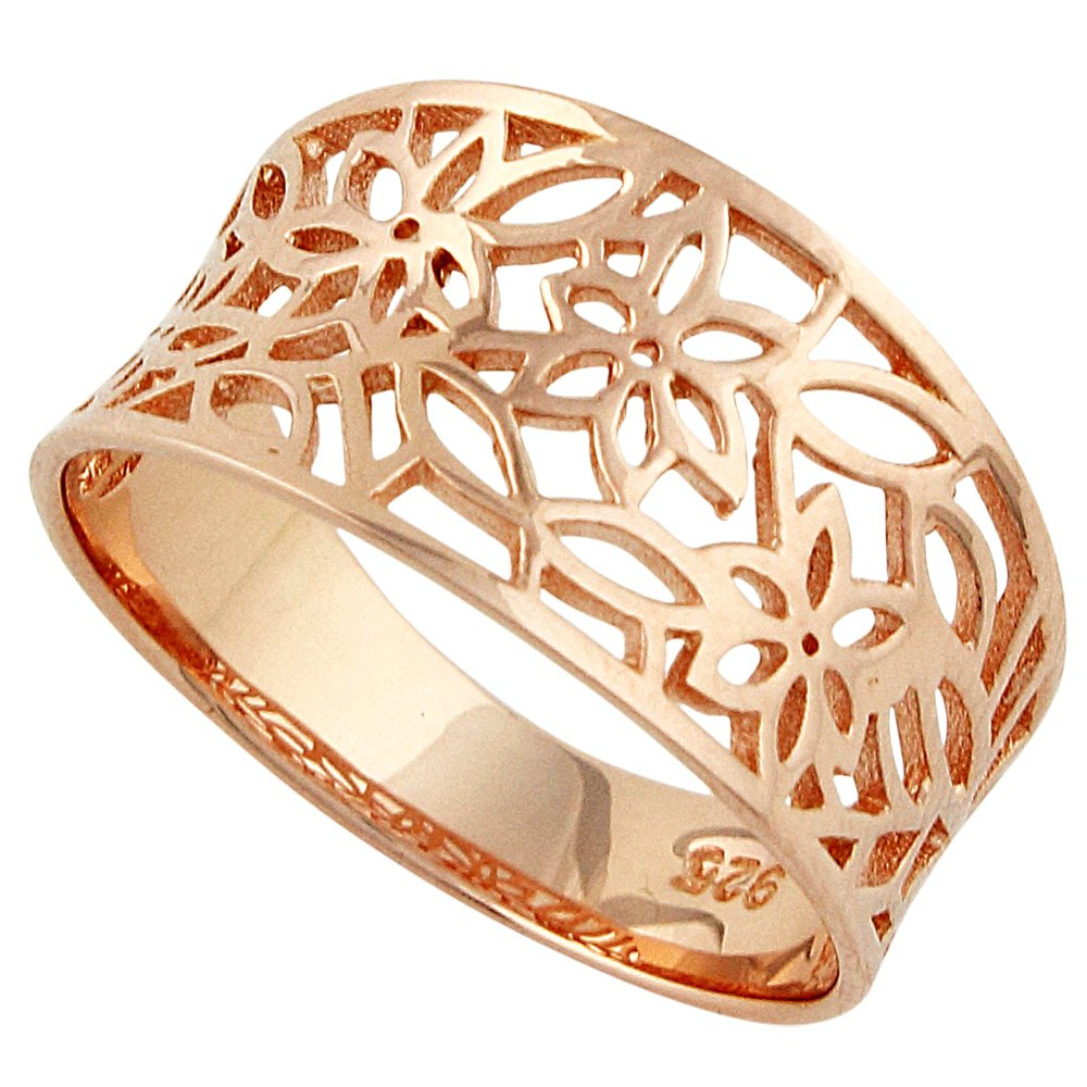 CloseoutWarehouse Sterling Silver Rose Gold-Tone Plated Victorian Style Leaf Filigree Vintage Ring Size 11