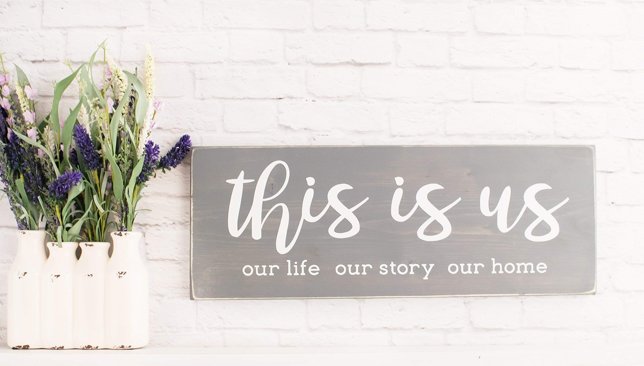 Gray This Is Us Wood Sign, Modern Farmhouse Style Wooden Wall Decor