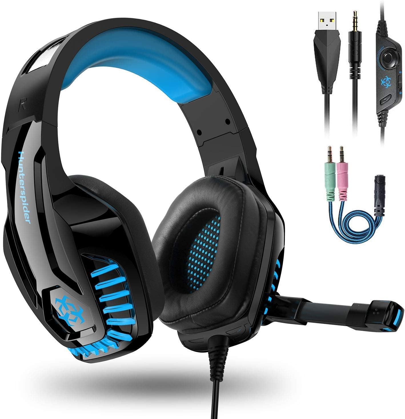 Igrome Auriculares Gaming PS4,Cascos Gaming con Micrófono de Mac Estéreo Cascos Gaming con 3.5mm Jack Luz LED Bajo Ruido Auriculares Gaming Compatible con PS4/PC/Mac/Xbox One/Nintendo Switch