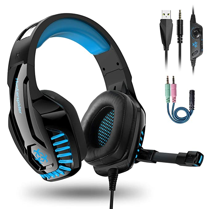 Cascos PS4 / PC / Xbox One,Auriculares Gaming Stereo con Micrófono para Mac Cascos Gaming con Bass Surround Cancelacion Ruido y 3.5mm Jack,Diadema Acolchada y Ajustable (Tiene un Adaptador 2 en 1)