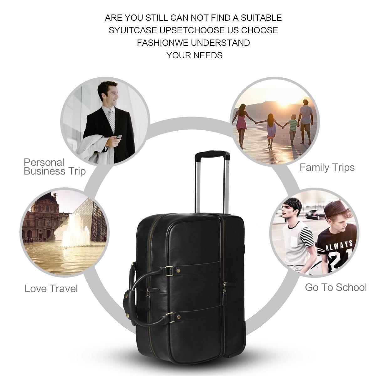 Leathario Men's Leather Luggage Wheeled Duffle, Leather Travel Bag (Black) by Leathario (Image #6)