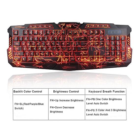 TNI Backlit Earth Crack Gaming Keyboard, 3 Color LED Backlit, Mechanical  Feel, 10 Multimedia Control Keys, 19 Keys No Conflict