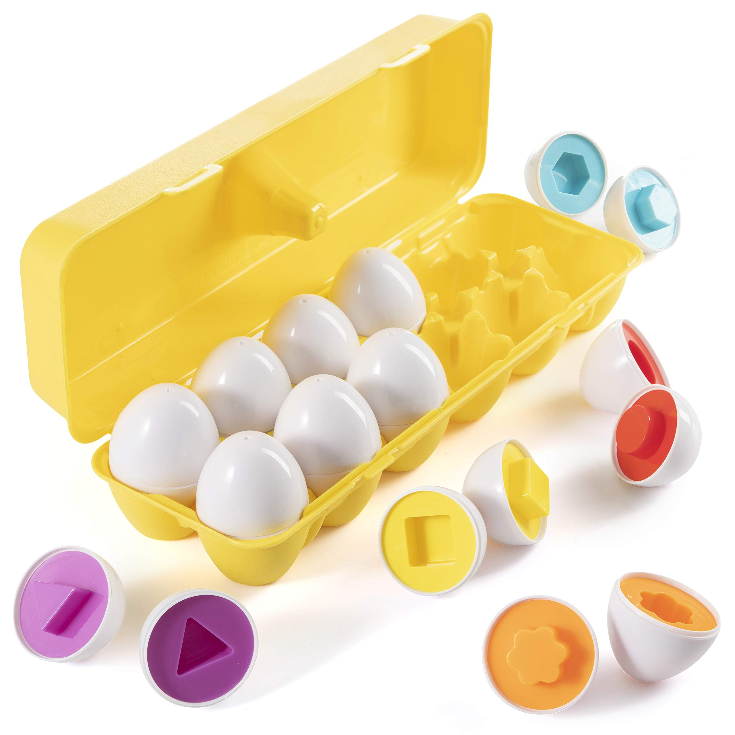 Prextex My First Find and Match Easter Matching Eggs with Yellow Eggs Holder - STEM Toys Educational Toy for Kids and Toddlers to Learn About Shapes and Colors Easter Gift