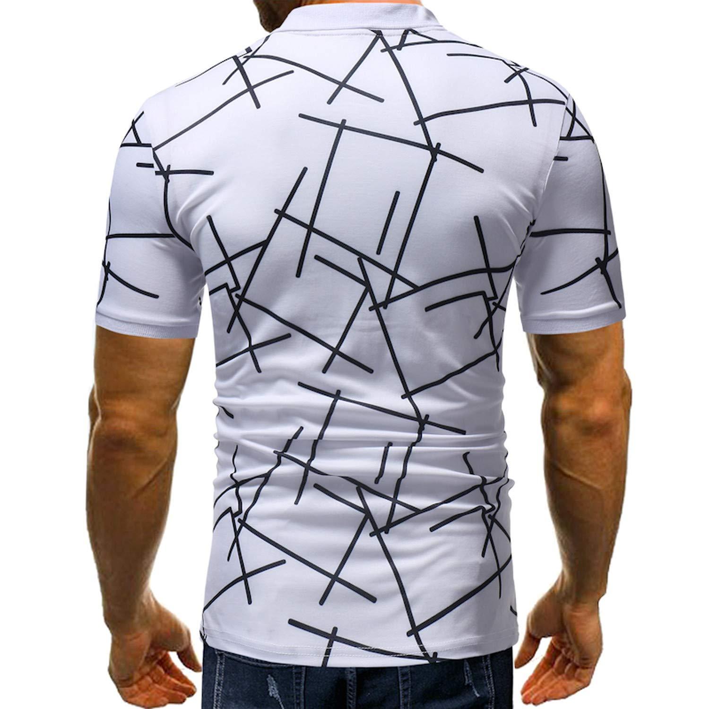 EspTmall New Summer Polo Diagonal Stripes Printing Short Sleeve Casuals Polos Mens Plus Size M-3Xl