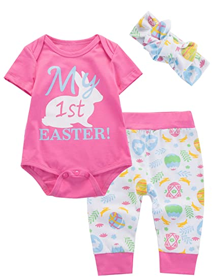 12a262639 Amazon.com: 3Pcs Baby Girls Outfit My First Easter Bunny Tops Pant Clothing  Set (12-18 Months): Home & Kitchen