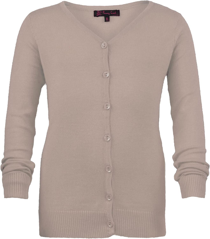 LOTMART Girls Long Sleeve Fine Knit Cardigan Knitted Kids V-Neck Sweater Top