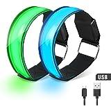 Bracelet LED Lumière, Waitiee USB Rechargeable Brassards led réfléchissant, 2 pièces léger et haute visibilité réglable lumière de sécurité pour les sports de plein air jogging, cyclisme