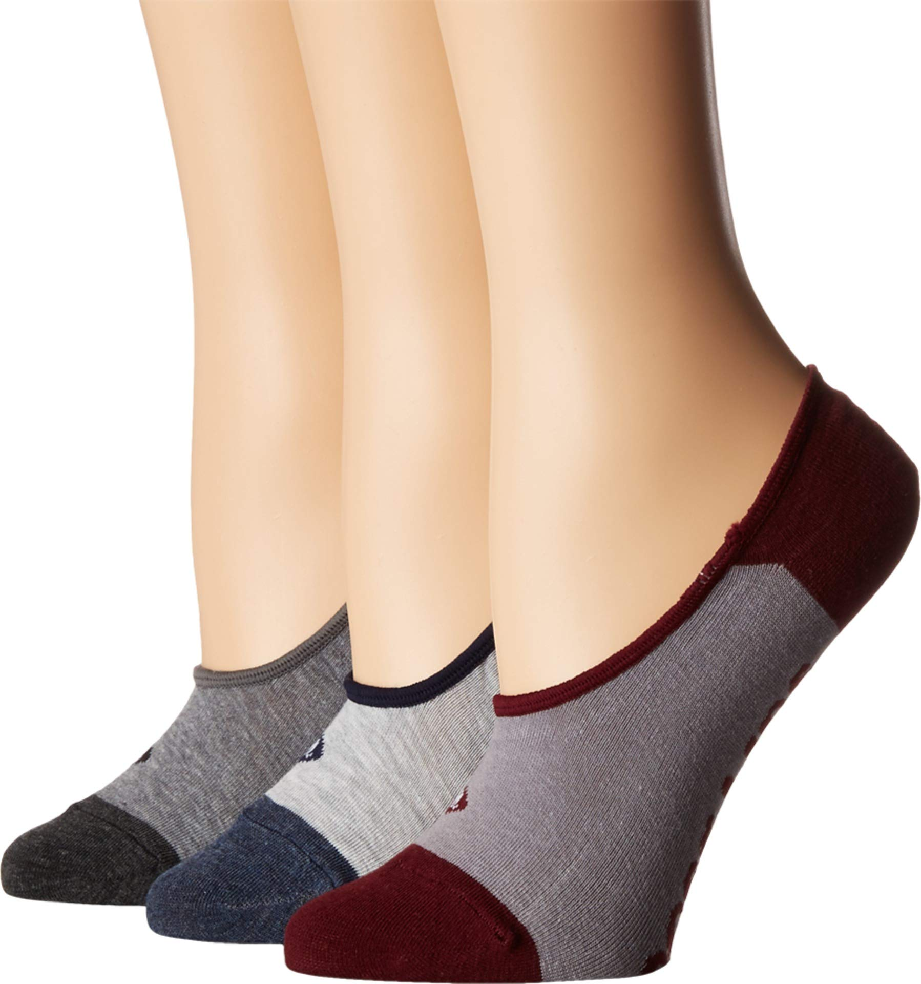Sperry Top-Sider Women's 3 Pack Canoe No Show Liner Socks, Gray Heather Assorted, Shoe 4-10/Sock Size 9-11