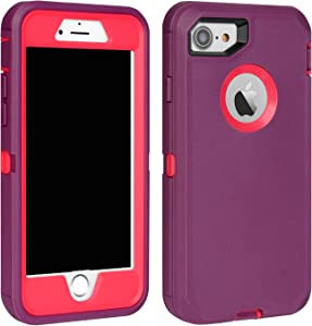 "MAXCURY iPhone 7 Defender Case, iPhone 8 Case, Heavy Duty Shockproof Series Case for iPhone 7/8 (4.7"") with Built-in Screen Protector (Wine/Fuchsia)"