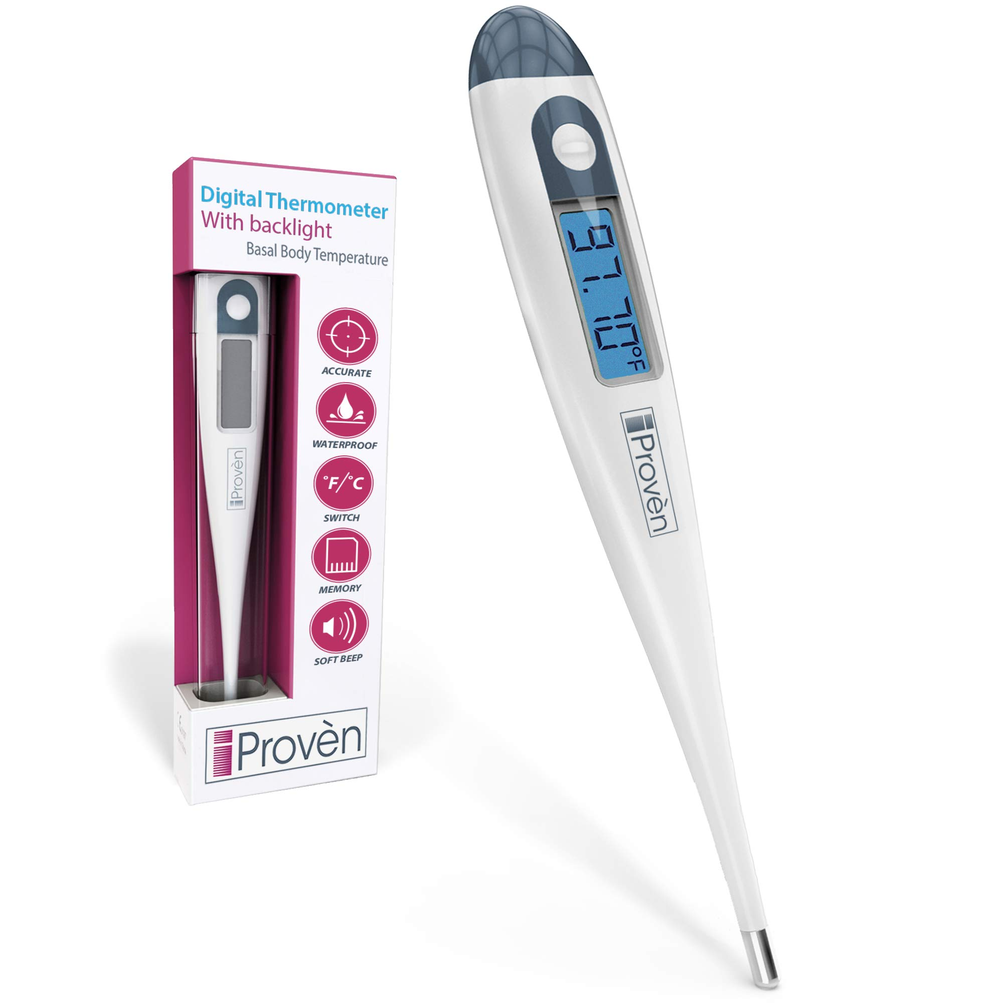 Basal Body Thermometer - Ovulation Predictor - BBT for Fertility Tracking - with Backlight - Accurate 1/100th Degree - Highly Sensitive - for Natural Family Planning - BBT-113i by iProven