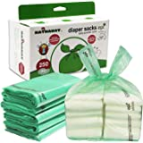 Baby Disposable Diaper Bags, 100% Biodegradable Diaper Sacks with Baby Powder Scent and Added Baking Soda to Absorb…