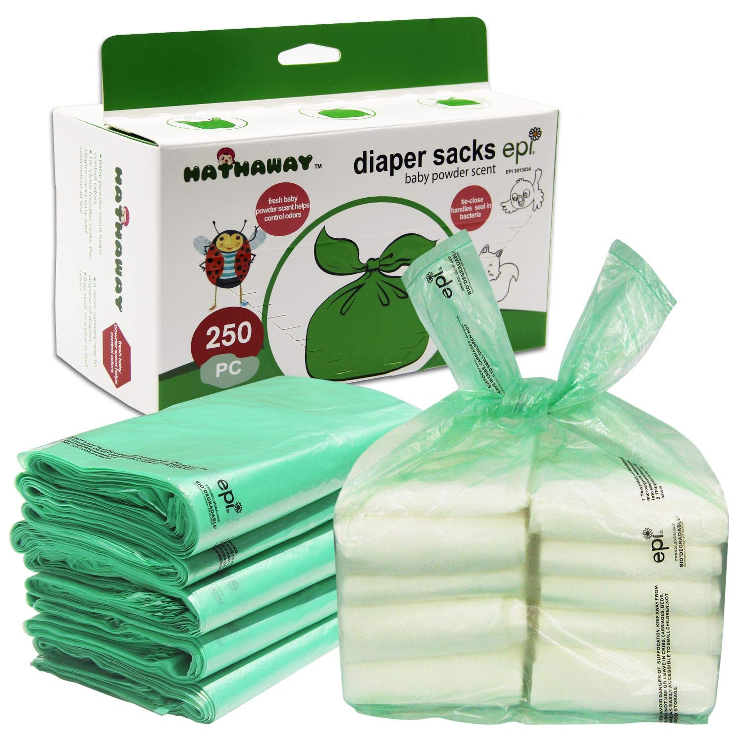 Baby Disposable Diaper Bags – 100% Biodegradable Diaper Sacks with Baby Powder Scent & Added Baking Soda to Absorb Odors - 250 Count (Green) HATHAWAY