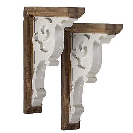 American Art Décor Wooden Corbels Shelf Brackets Vintage Farmhouse Decor Set Of 2 Brown White