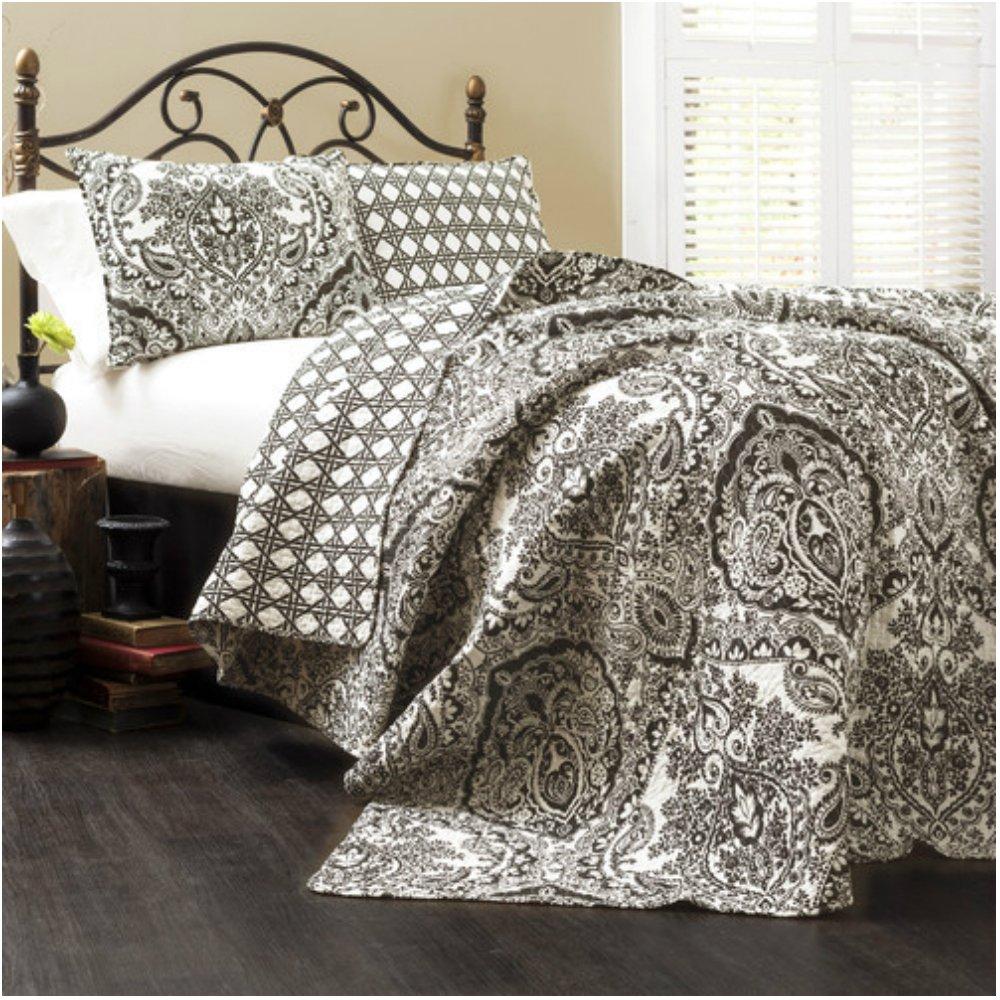 ソフト&軽量モダンダマスクプリントキルトセットは現代のベッドルーム – Kingサイズ B01HWF3VFG