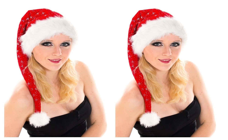 2 er Set Lange Weihnachtsmütze Nikolausmütze Rot Plüsch mit Glitzer Staub X5