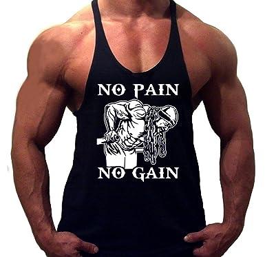 f2b833ba18665 Solenzo -T-Shirt Débardeur Stringer Bodybuilding Musculation Homme No Pain  No Gain (L
