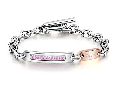 Bishilin Modeschmuck Edelstahl Armband Frauen Gravur  quot Amour quot  mit  Zirkonia Rosegold Armbänder Beste Freundin 673db6b88d