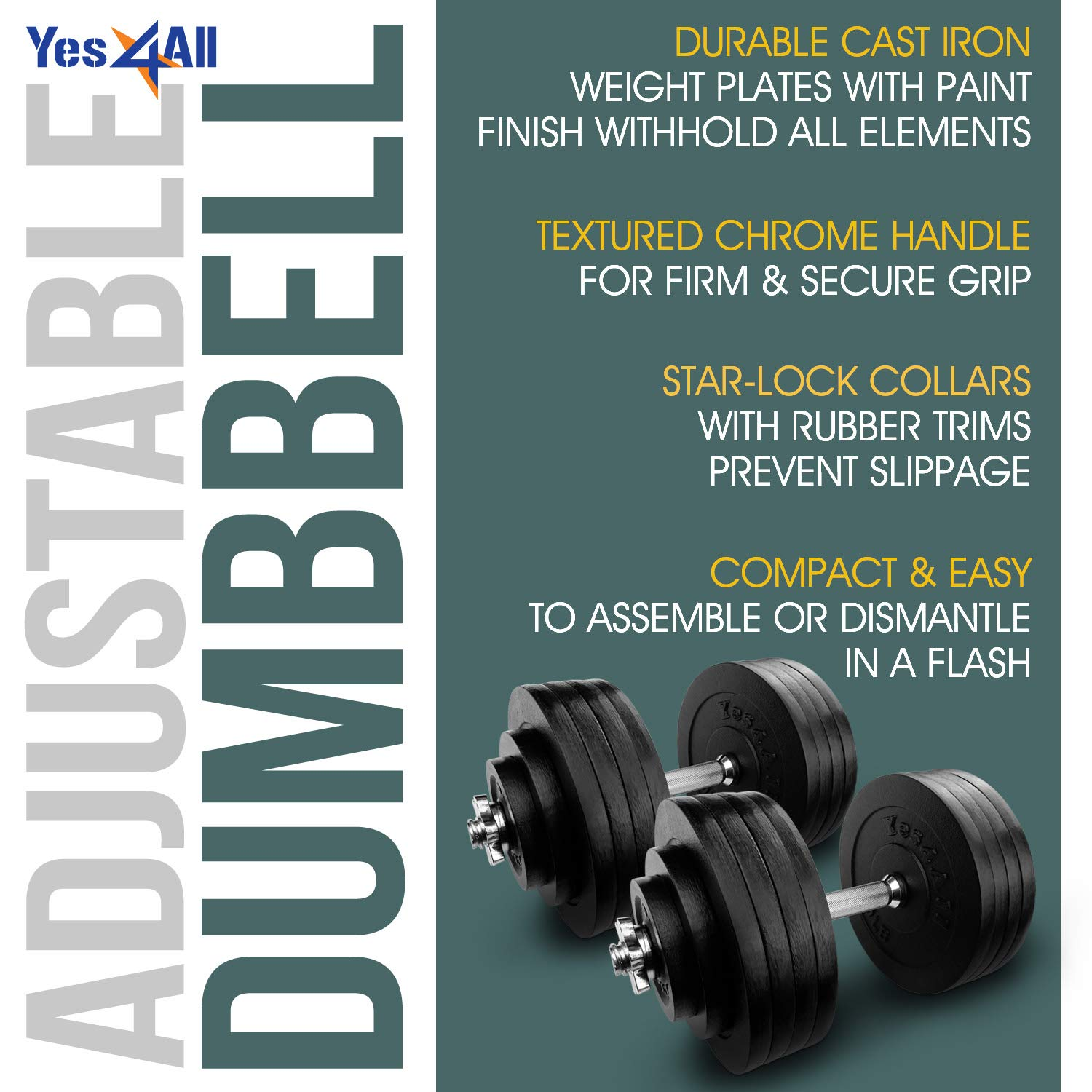 Yes4All Adjustable Dumbbells - 200 lb Dumbbell Weights (Pair) by Yes4All (Image #1)