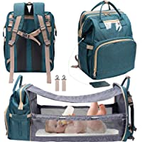 3 in 1 Travel Bassinet Foldable Baby Bed, Diaper Bag Backpack Changing Station, Waterproof, USB Charging Port, Baby Bag Portable Crib, Green (Green)