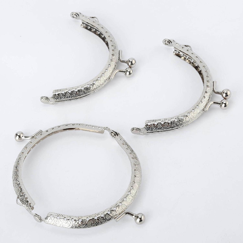 Bowarepro 10Pcs Metal Purse Bag Frames Retro Snap Clasp Arch Pattern Coin Style Purse DIY Craft Silver