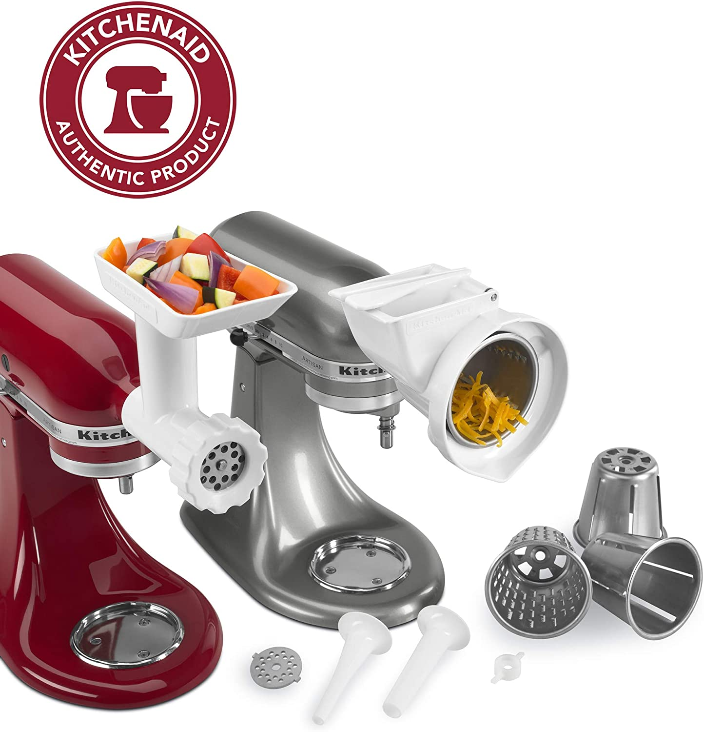KitchenAid 80127 KGSSA Stand Mixer Attachment with Food Grinder, Rotor Slicer, Shredder and Sausage Stuffer